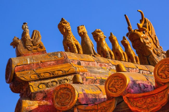 William Perry | Roof Figurines Yellow Roofs Gugong Forbidden City Palace Beijing