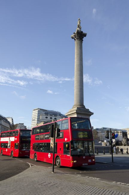 Steve Stamford | Red bus at Trafalgar Square