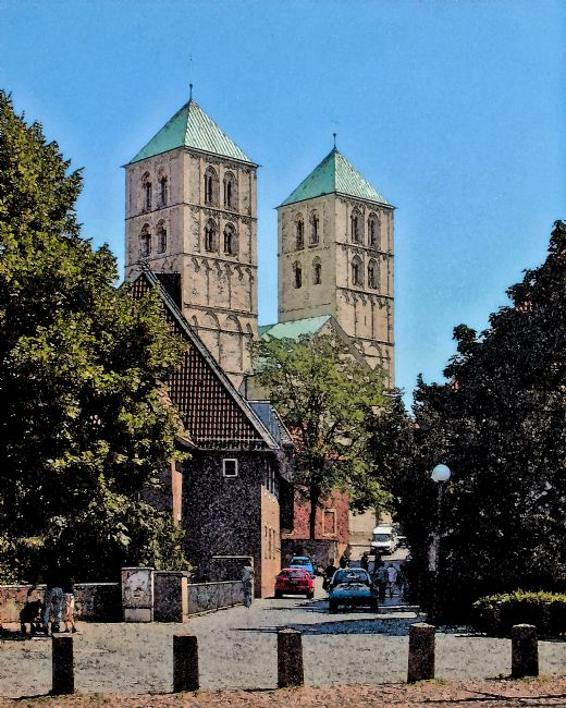 Chris Langley | Approaching Münster Cathedral (Dom Münster), Germany (watercolour)