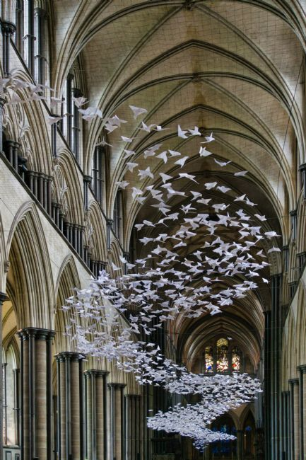 Chris Langley | Les Colombes - Origami Peace Doves - Salisbury Cathedral