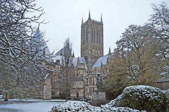 Chris Langley | Lincoln Cathedral in snow (watercolour)