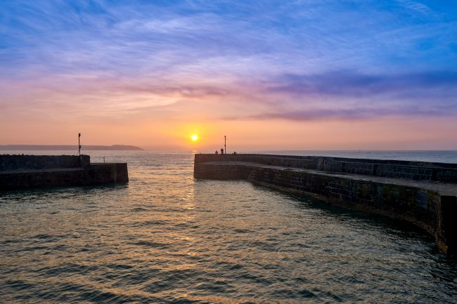 Gordon Maclaren | Cornish Sunrise over the English Channel from Charlestown Harbour