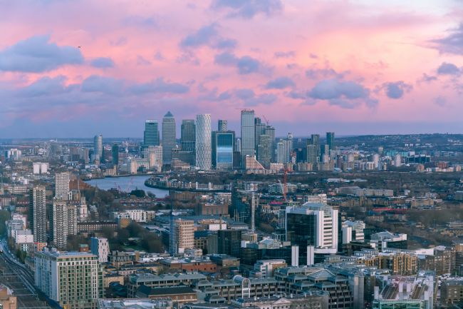 Milton Cogheil | Aerial sunset cityscape of Canary Wharf