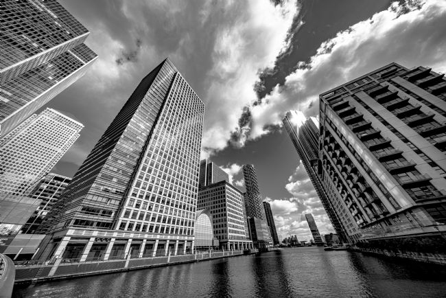 Andrew King | Canary Wharf: the South Dock Buildings from the South Quay footbridge