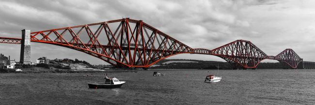 Jane McIlroy | Forth Rail Bridge, Scotland, B&W with red