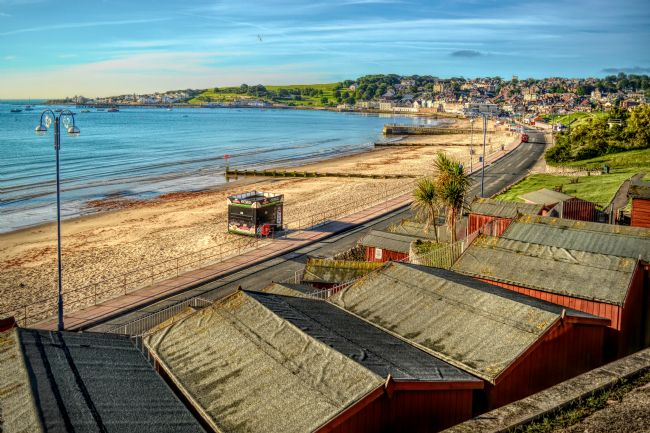 Linsey Williams |  Beach Huts Overlooking Swanage and the Bay
