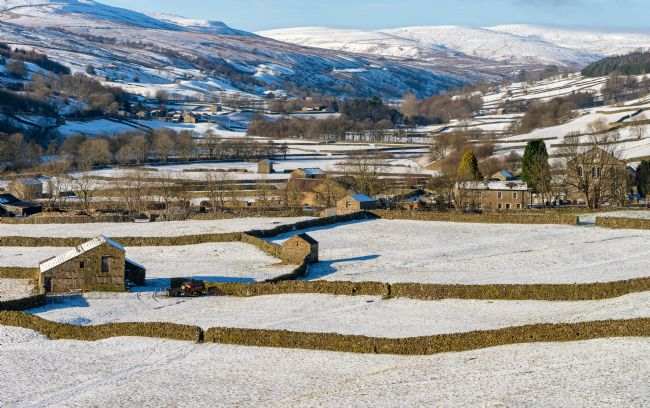 Janet Burdon | The barns at Gunnerside in Swaledale on a bright, snowy winter's