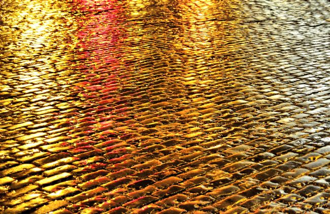 Sandra Cockayne | Golden Wet Cobbles