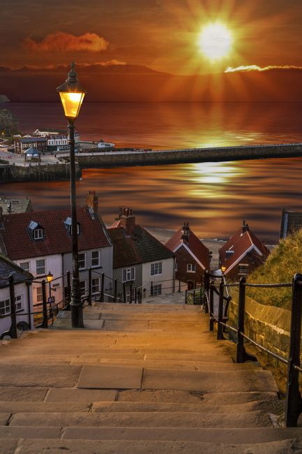 Sandra Cockayne | Whitby 199 Steps - Digital Art