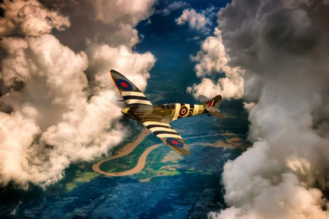 Airpower Art | Spitfire In The Clouds