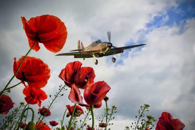 Airpower Art | Hurricane Poppy Fly Past Red