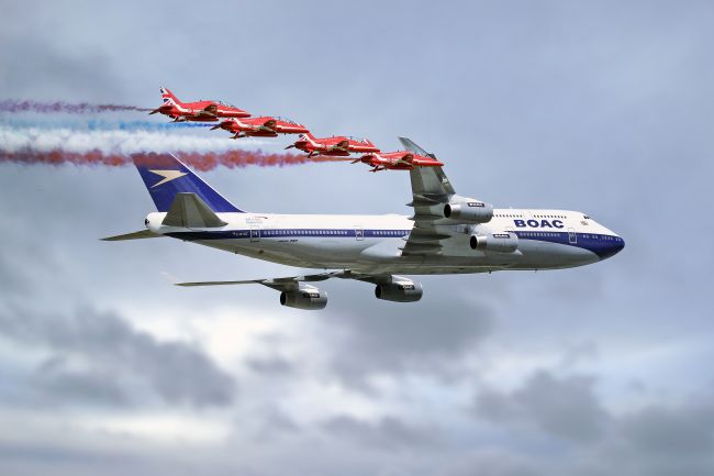 James Biggadike | BOAC Special Livery 747 with The Red Arrows