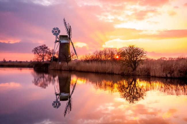 Michael Greaves | Turf Fen Windmill at Sunset