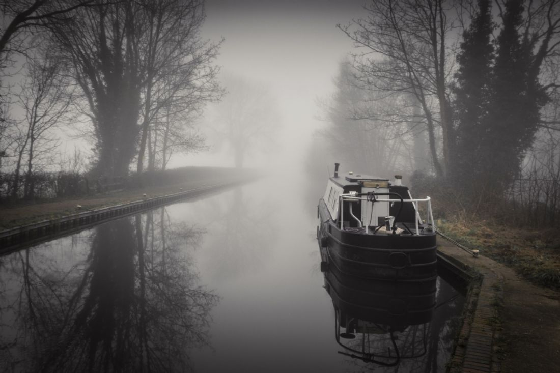 Warren Byrne | Fazeley Canal Boat in the Mist