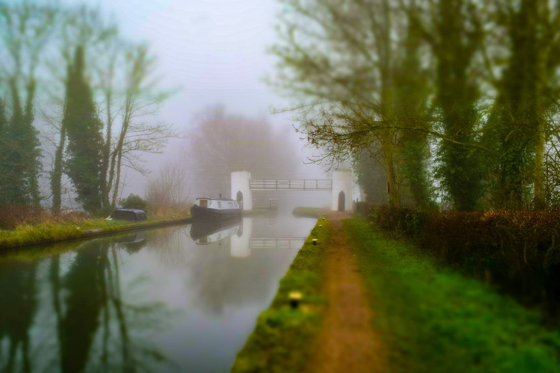 Warren Byrne | Fazeley Canal Boat and Bridge in the Mist