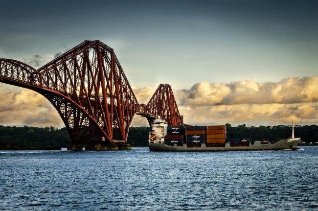 Warren Byrne | Container Ship Under the Forth Rail Bridge