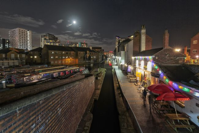 Jon Jones | Moonlight over Gas Street basin, Birmingham